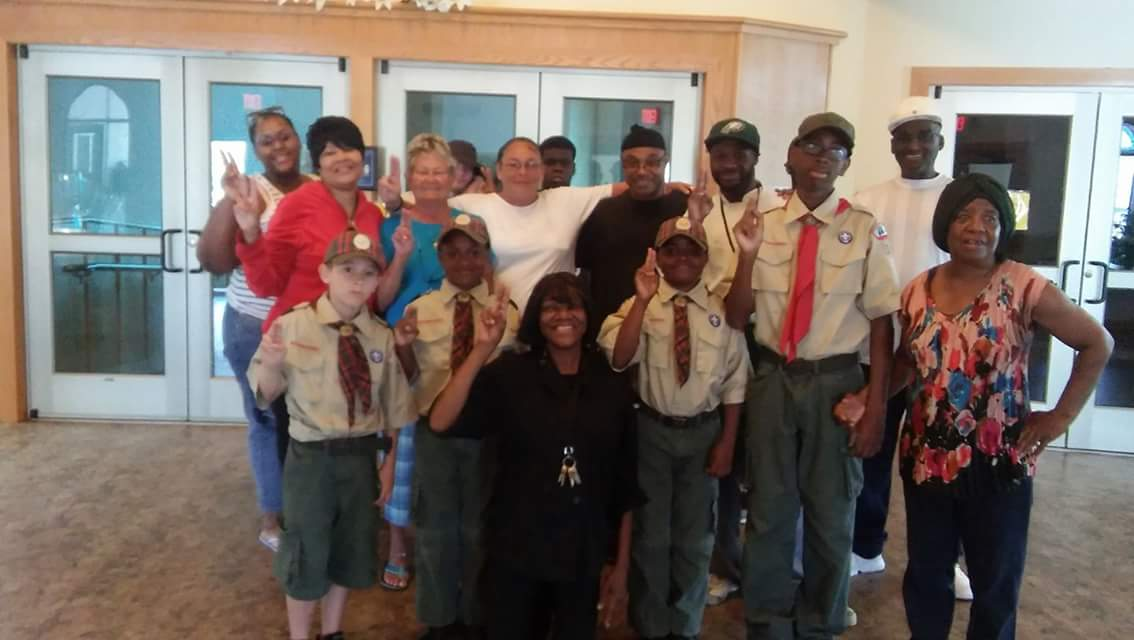 Barnabas House Volunteers Along With Boy Scouts
